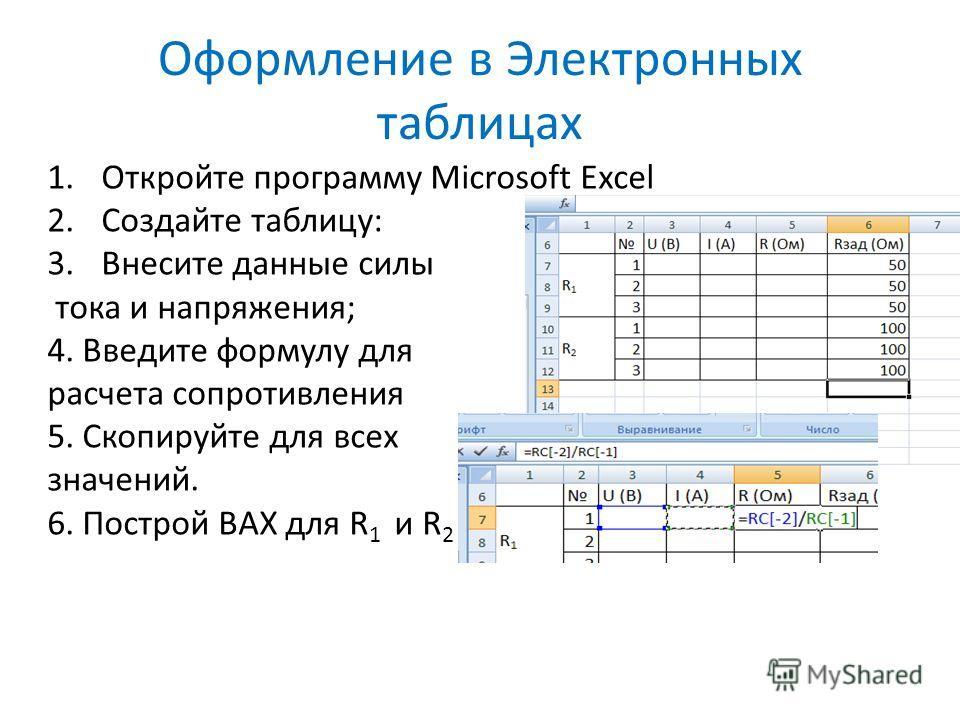 Оформление в Электронных таблицах 1.Откройте программу Microsoft Excel 2.Создайте таблицу: 3.Внесите данные силы тока и напряжения; 4. Введите формулу для расчета сопротивления 5. Скопируйте для всех значений. 6. Построй ВАХ для R 1 и R 2