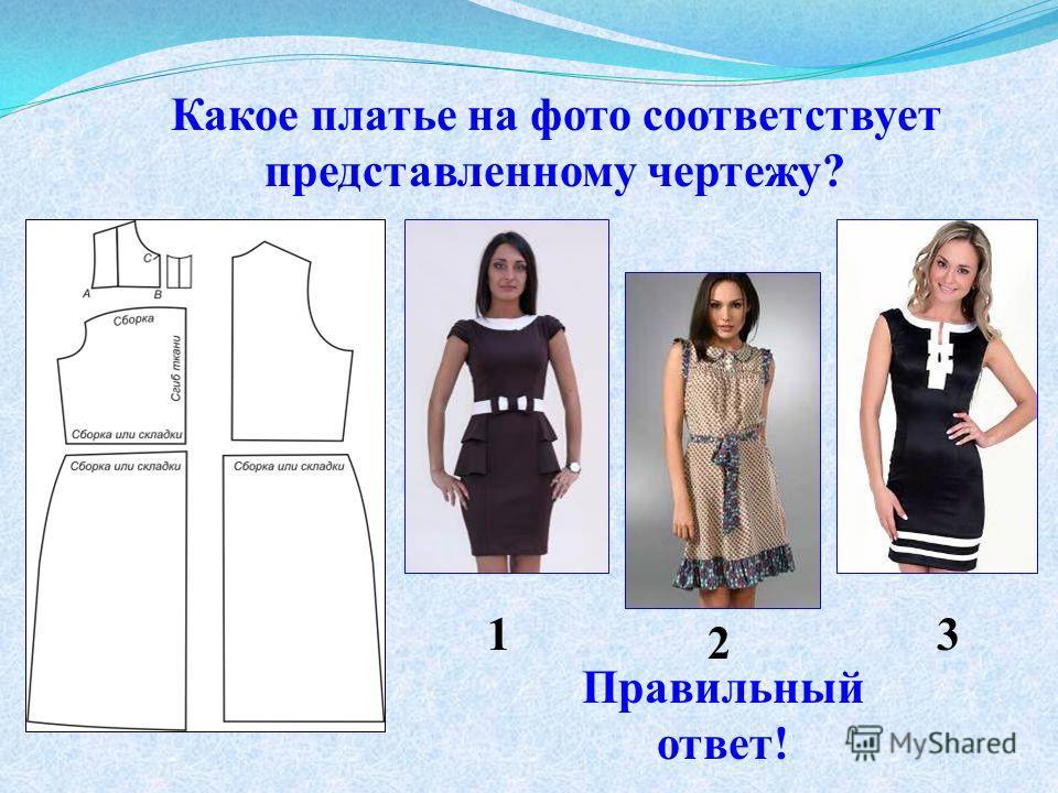 Какое платье на фото соответствует представленному чертежу? 1 2 3 Правильный ответ!