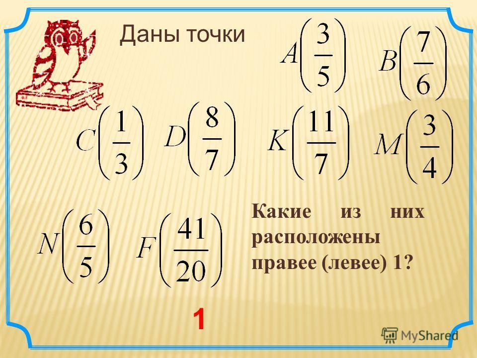 Даны точки Какие из них расположены правее (левее) 1? 1