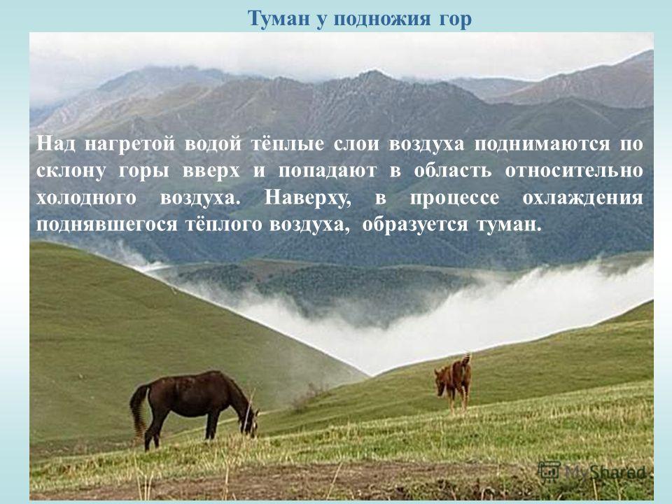 Туман у подножия гор Над нагретой водой тёплые слои воздуха поднимаются по склону горы вверх и попадают в область относительно холодного воздуха. Наверху, в процессе охлаждения поднявшегося тёплого воздуха, образуется туман.
