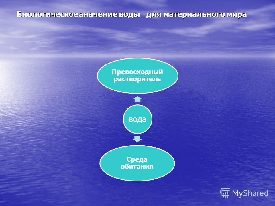 вода Превосходный растворитель Среда обитания Биологическое значение воды для материального мира