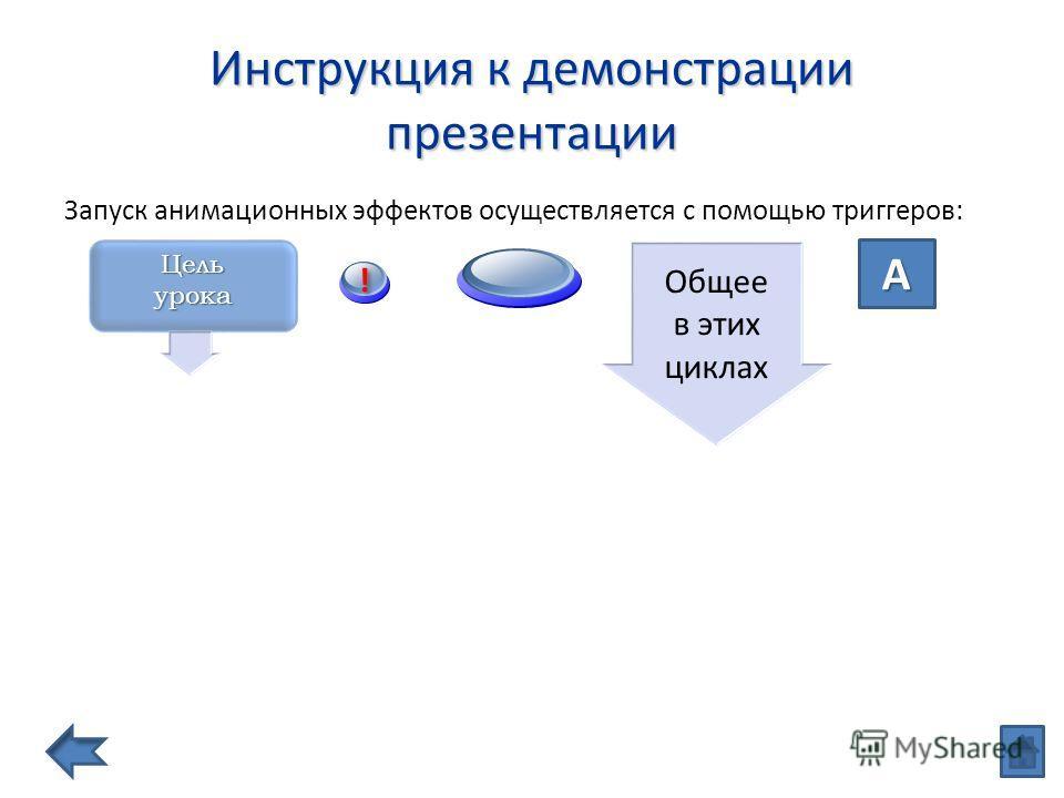 Инструкция к демонстрации презентации Запуск анимационных эффектов осуществляется с помощью триггеров: A Цель урока ! ! Общее в этих циклах