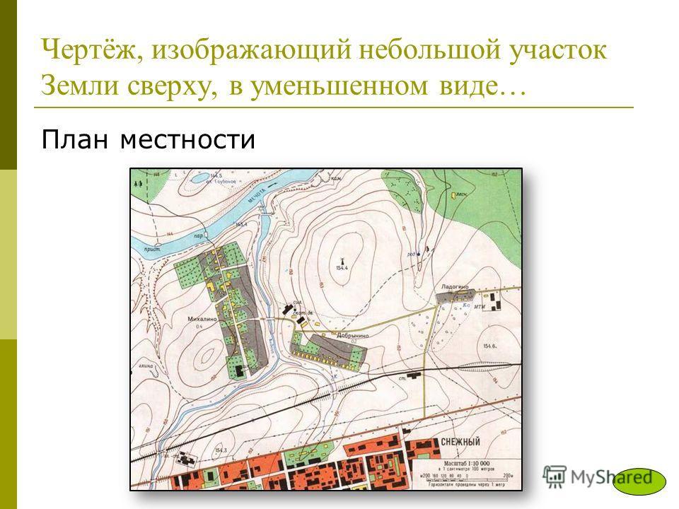 Чертёж, изображающий небольшой участок Земли сверху, в уменьшенном виде… План местности