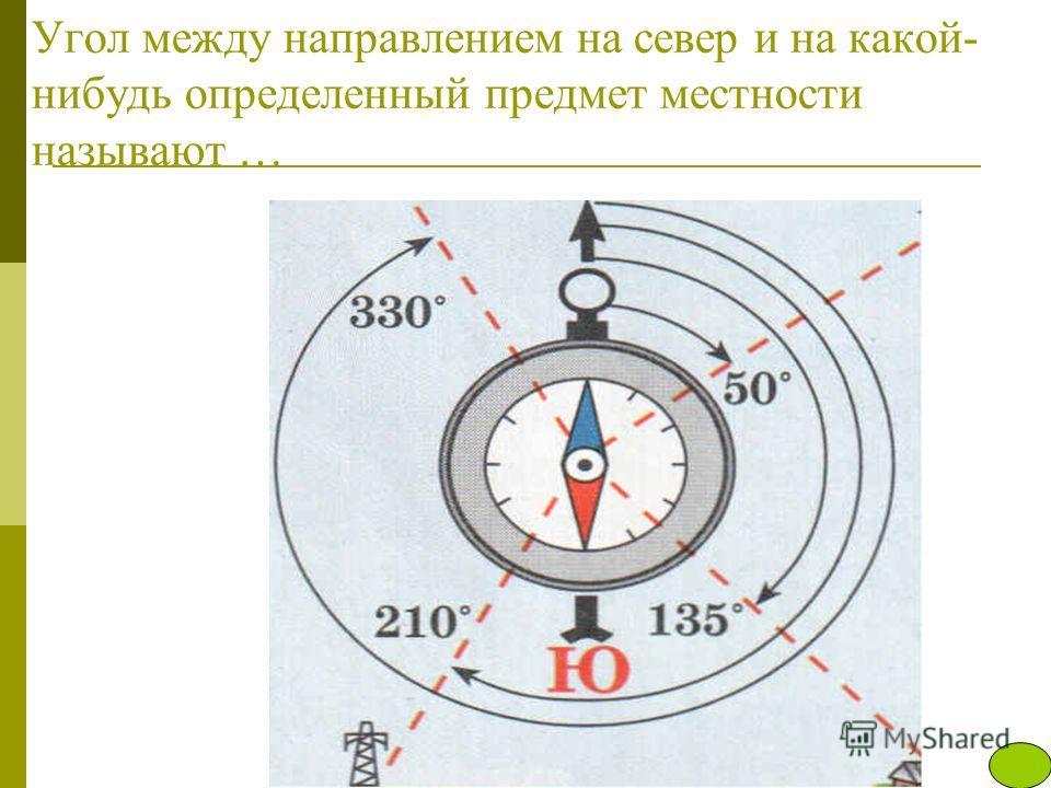 Угол между направлением на север и на какой- нибудь определенный предмет местности называют …