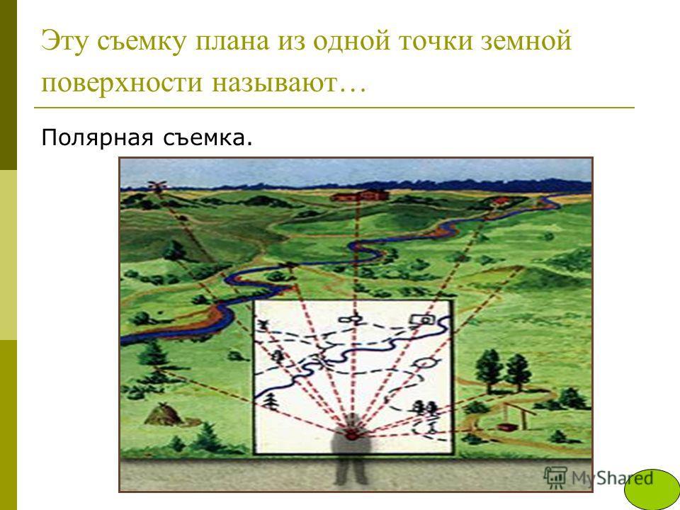 Эту съемку плана из одной точки земной поверхности называют… Полярная съемка.
