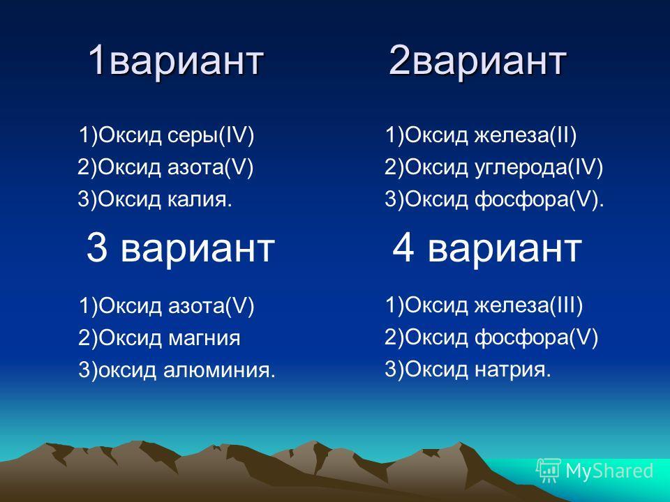 1вариант 2вариант 1)Оксид серы(IV) 2)Оксид азота(V) 3)Оксид калия. 3 вариант 1)Оксид железа(II) 2)Оксид углерода(IV) 3)Оксид фосфора(V). 4 вариант 1)Оксид азота(V) 2)Оксид магния 3)оксид алюминия. 1)Оксид железа(III) 2)Оксид фосфора(V) 3)Оксид натрия