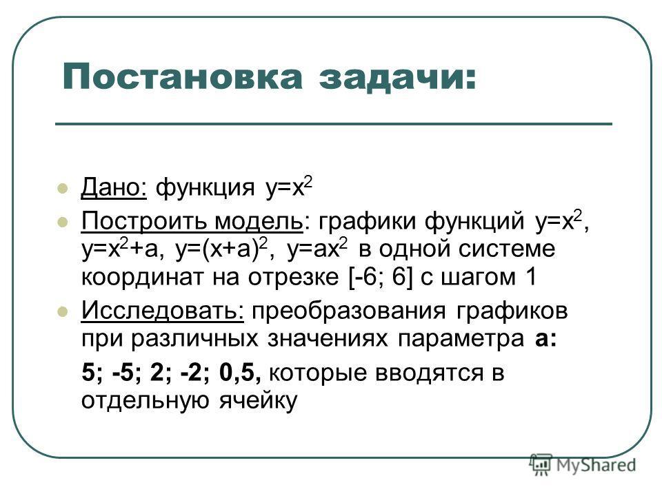Постановка задачи: Дано: функция у=х 2 Построить модель: графики функций у=х 2, у=х 2 +а, у=(х+а) 2, у=ах 2 в одной системе координат на отрезке [-6; 6] с шагом 1 Исследовать: преобразования графиков при различных значениях параметра а: 5; -5; 2; -2;