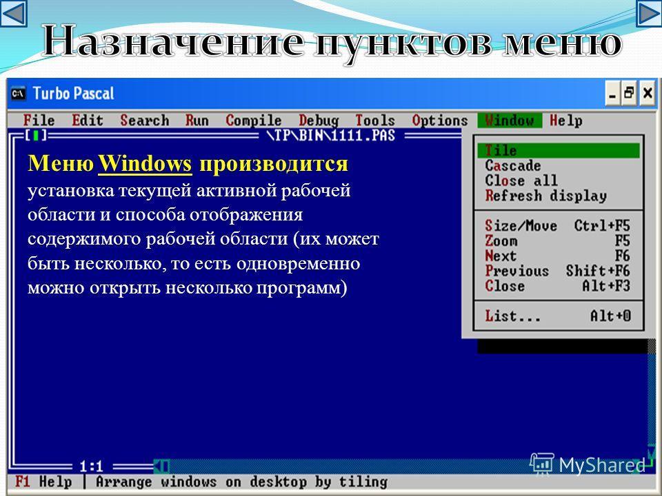 Меню Windows производится установка текущей активной рабочей области и способа отображения содержимого рабочей области (их может быть несколько, то есть одновременно можно открыть несколько программ)