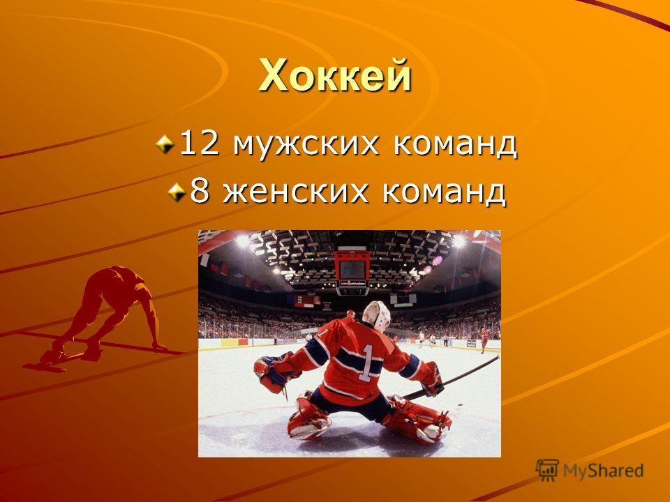 Хоккей 12 мужских команд 8 женских команд