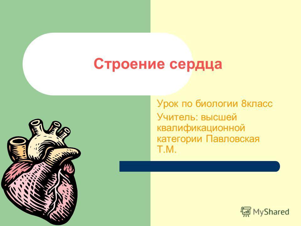 Строение сердца Урок по биологии 8класс Учитель: высшей квалификационной категории Павловская Т.М.