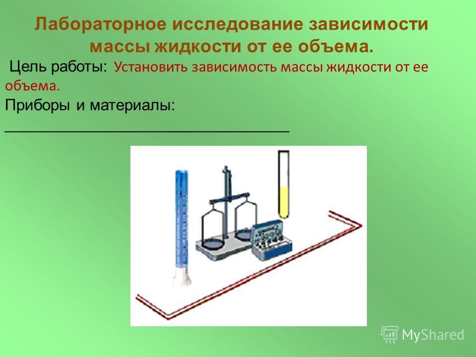 Лабораторное исследование зависимости массы жидкости от ее объема. Цель работы: Установить зависимость массы жидкости от ее объема. Приборы и материалы: ________________________________