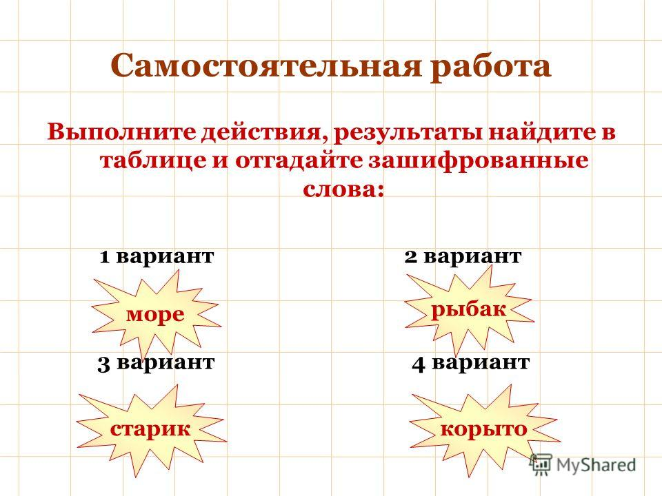 Самостоятельная работа Выполните действия, результаты найдите в таблице и отгадайте зашифрованные слова: 1 вариант 2 вариант 3 вариант 4 вариант море рыбак стариккорыто