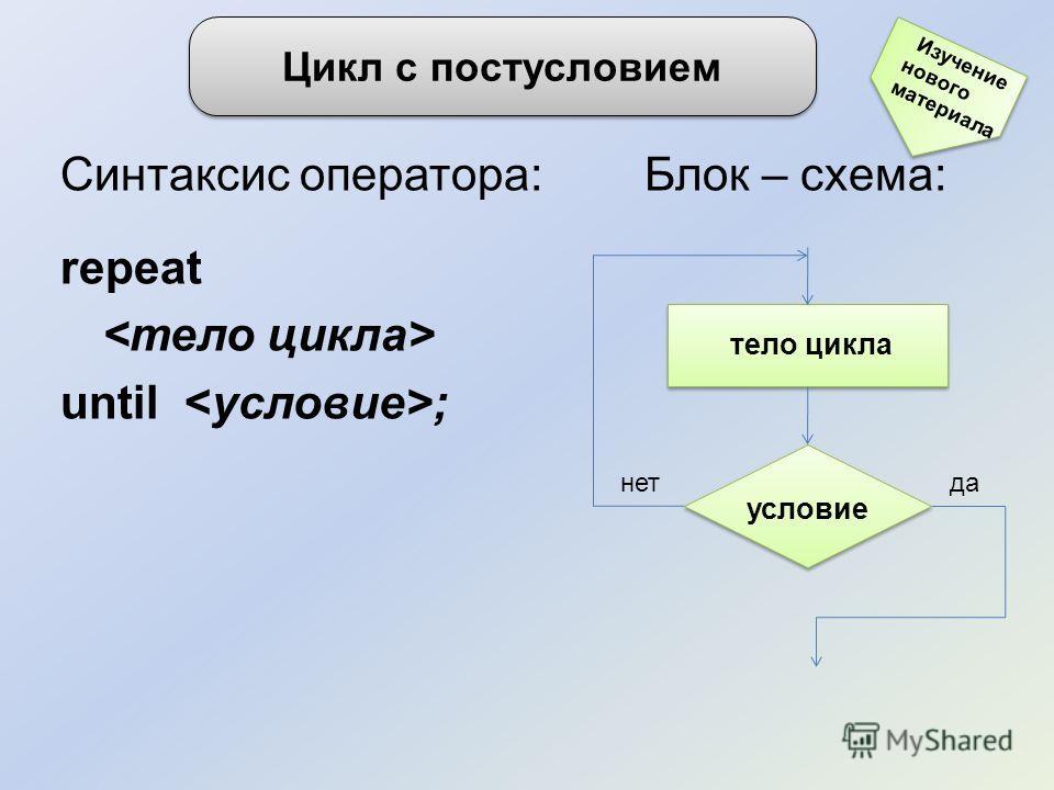 Синтаксис оператора: Блок – схема: repeat until ; Цикл с постусловием нетда условие тело цикла Изучение нового материала