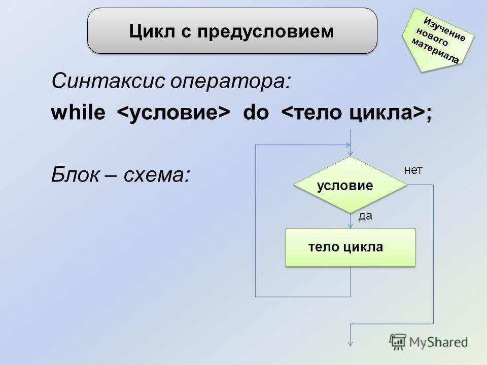 Синтаксис оператора: while do ; Блок – схема: Цикл с предусловием Изучение нового материала нет тело цикла да условие
