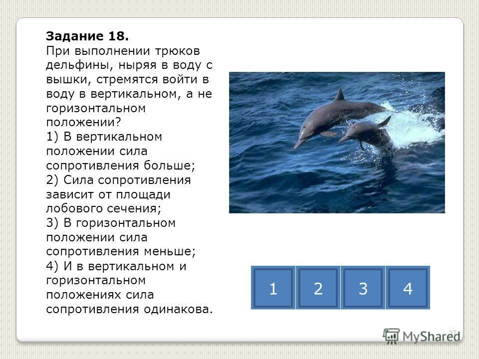 Задание 18. При выполнении трюков дельфины, ныряя в воду с вышки, стремятся войти в воду в вертикальном, а не горизонтальном положении? 1) В вертикальном положении сила сопротивления больше; 2) Сила сопротивления зависит от площади лобового сечения;