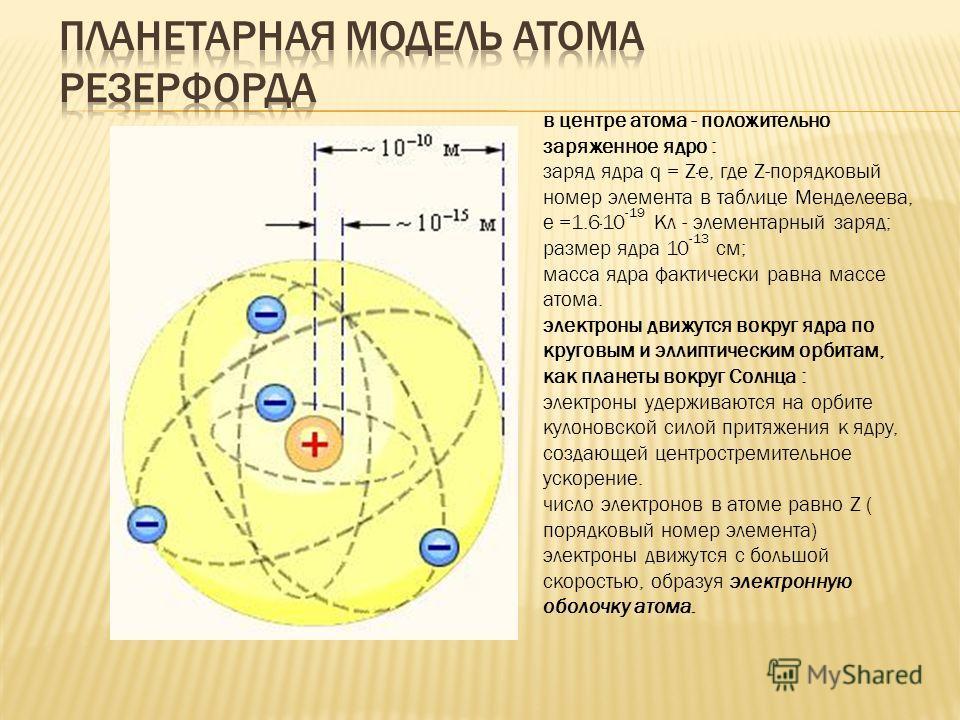в центре атома - положительно заряженное ядро : заряд ядра q = Z·e, где Z-порядковый номер элемента в таблице Менделеева, e =1.6·10 -19 Кл - элементарный заряд; размер ядра 10 -13 см; масса ядра фактически равна массе атома. электроны движутся вокруг