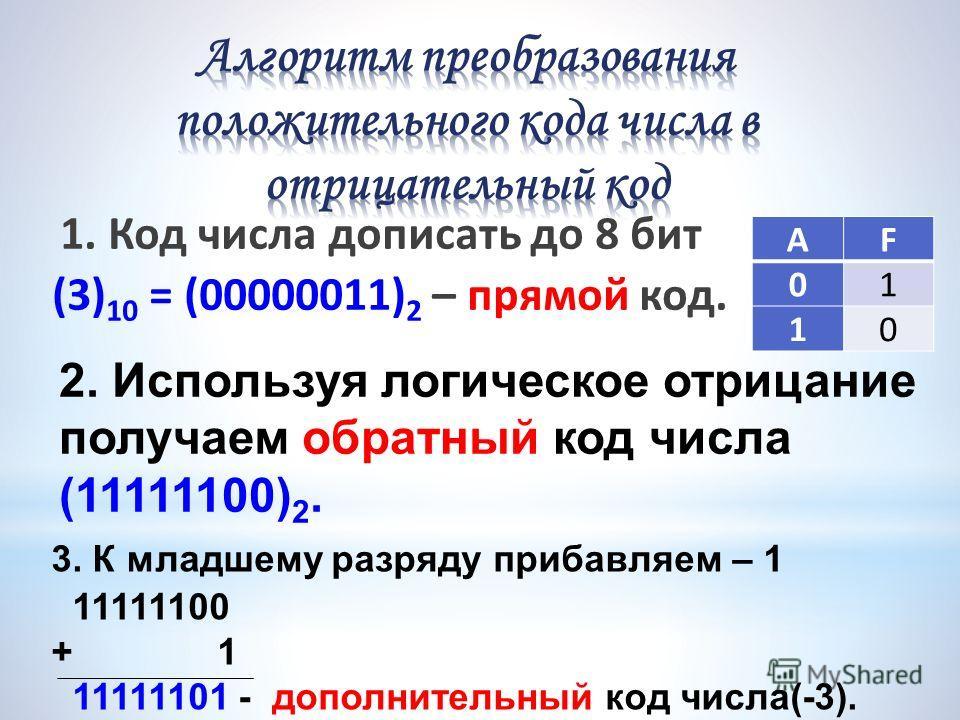 1. Код числа дописать до 8 бит (3) 10 = (00000011) 2 – прямой код. 2. Используя логическое отрицание получаем обратный код числа (11111100) 2. 3. К младшему разряду прибавляем – 1 11111100 + 1 11111101 - дополнительный код числа(-3). АF 01 10