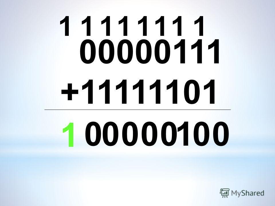00000111 +11111101 0 1 1 1 000 1111 000 111