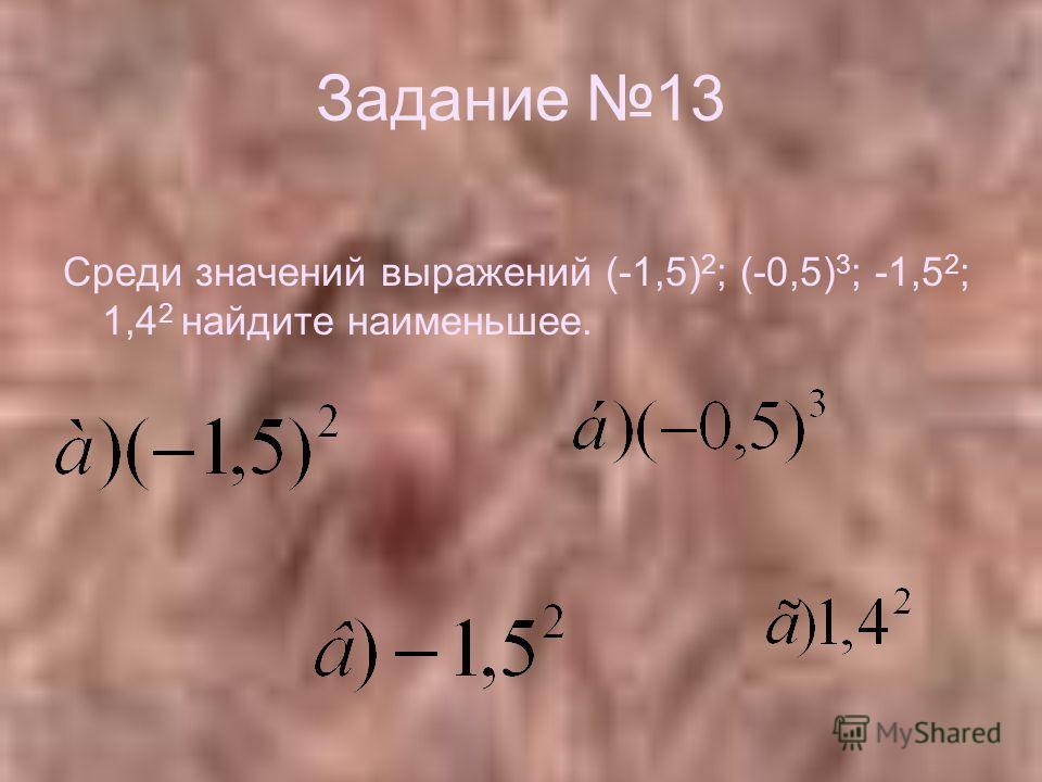 Задание 13 Среди значений выражений (-1,5) 2 ; (-0,5) 3 ; -1,5 2 ; 1,4 2 найдите наименьшее.