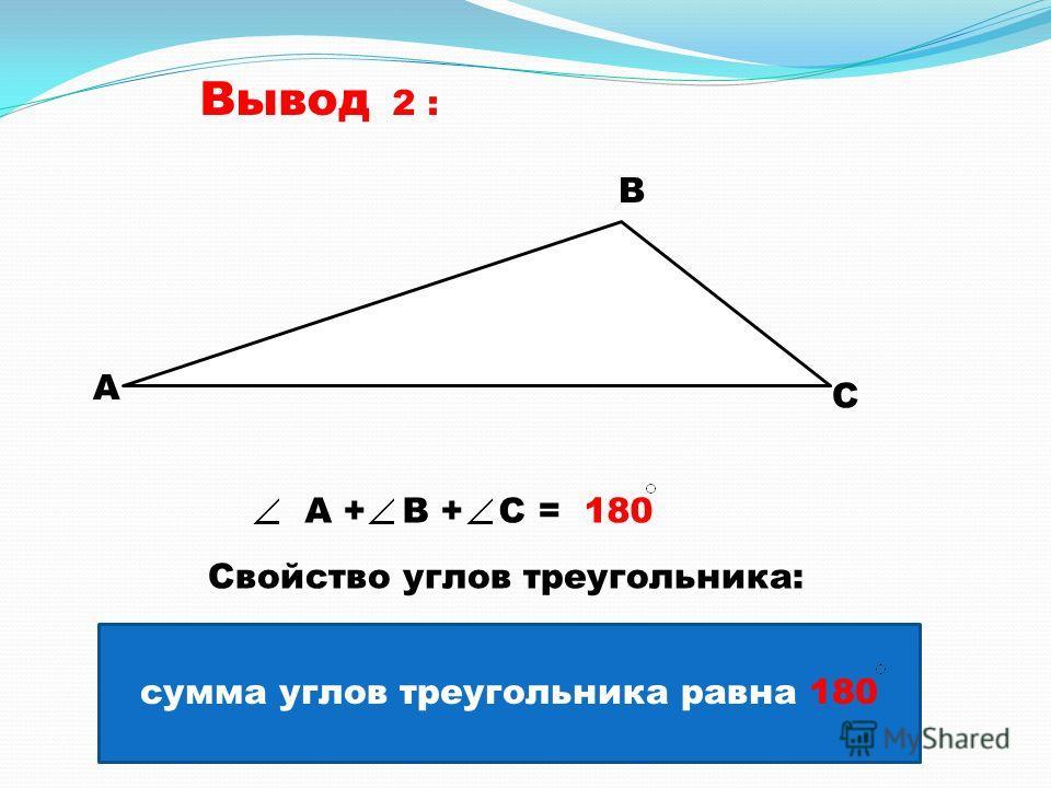 Вывод 2 : А В С А + В + С = 180 сумма углов треугольника равна 180 Свойство углов треугольника: