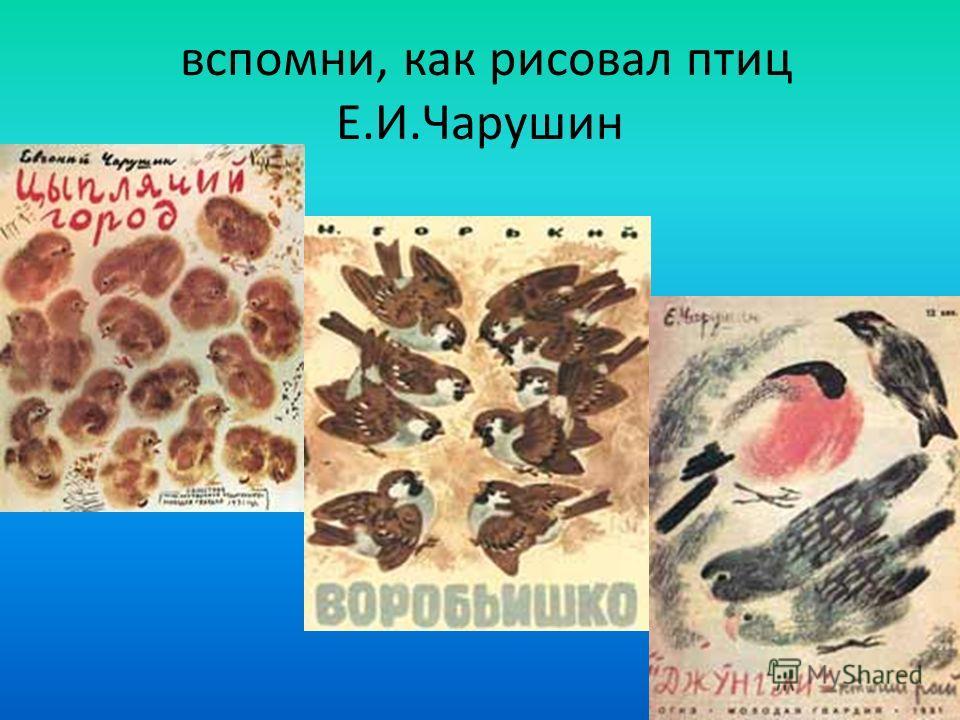 вспомни, как рисовал птиц Е.И.Чарушин