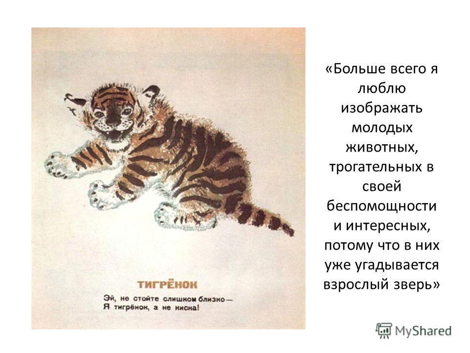 «Больше всего я люблю изображать молодых животных, трогательных в своей беспомощности и интересных, потому что в них уже угадывается взрослый зверь»