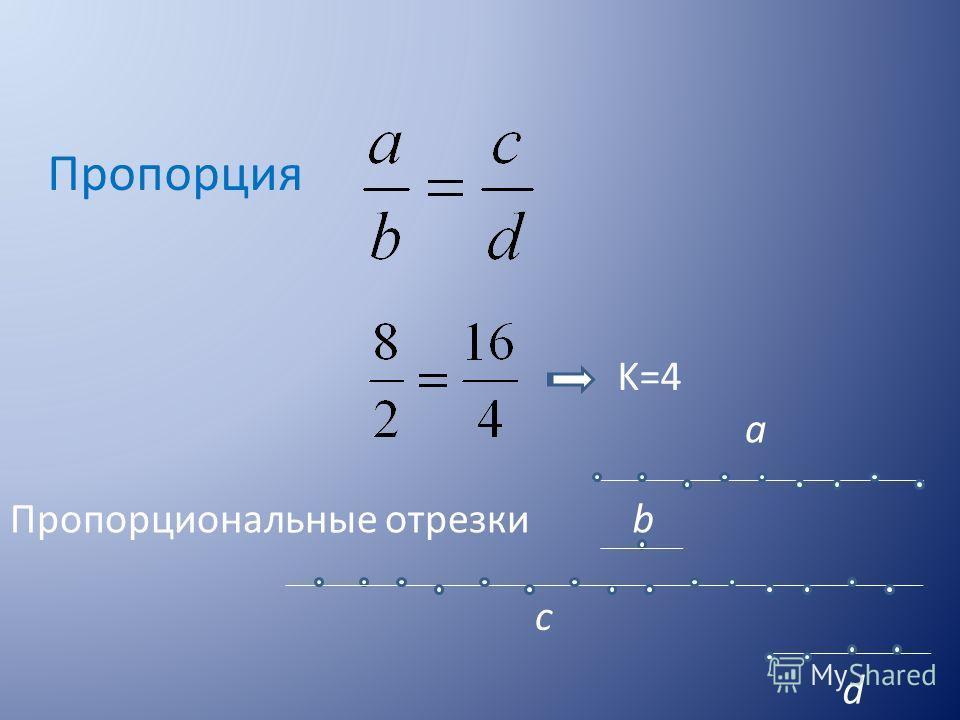 Пропорция Пропорциональные отрезки a b d c K=4