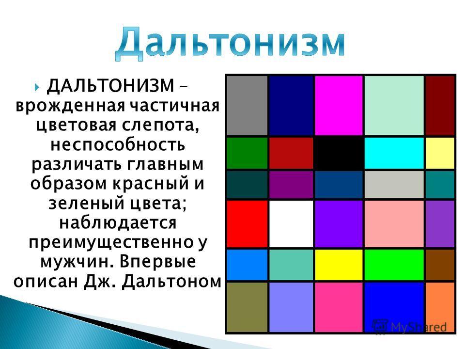 ДАЛЬТОНИЗМ – врожденная частичная цветовая слепота, неспособность различать главным образом красный и зеленый цвета; наблюдается преимущественно у мужчин. Впервые описан Дж. Дальтоном