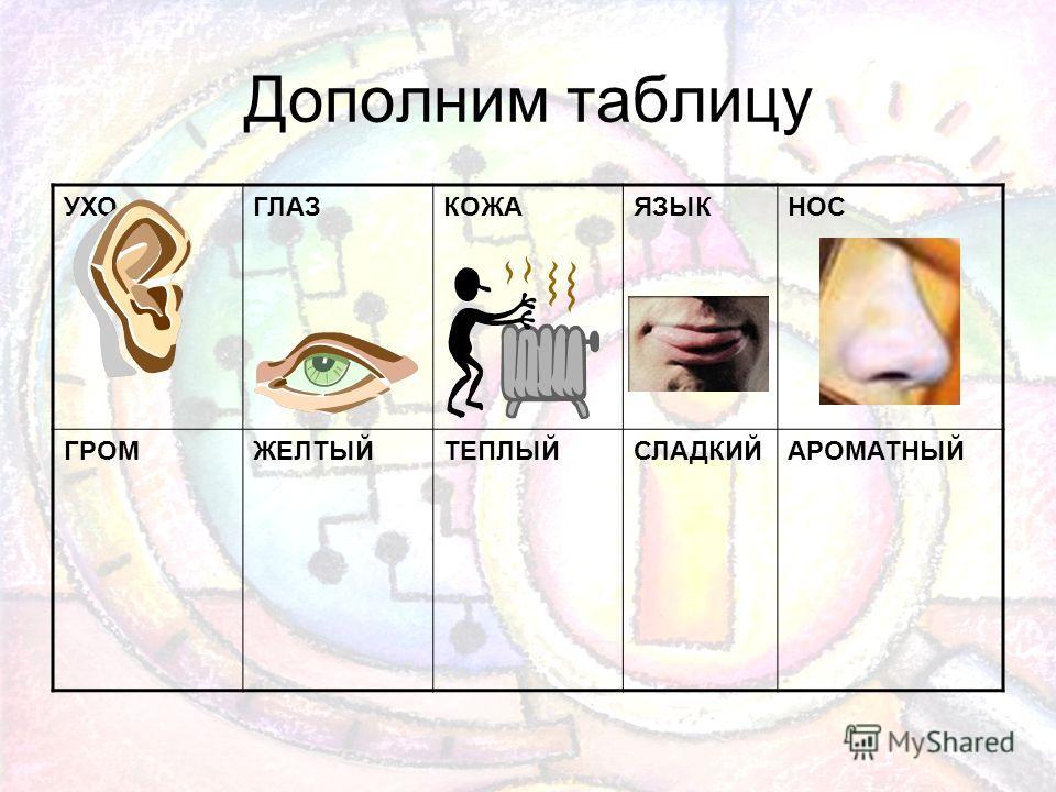 Дополним таблицу УХОГЛАЗКОЖАЯЗЫКНОС ГРОМЖЕЛТЫЙТЕПЛЫЙСЛАДКИЙАРОМАТНЫЙ