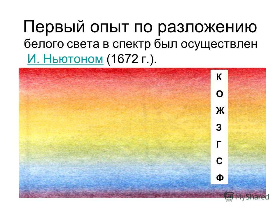 При разложении белого света с помощью спектроскопа КОЖЗГСФКОЖЗГСФ
