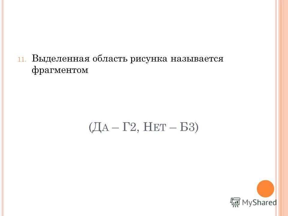 (Д А – Г2, Н ЕТ – Б3) 11. Выделенная область рисунка называется фрагментом