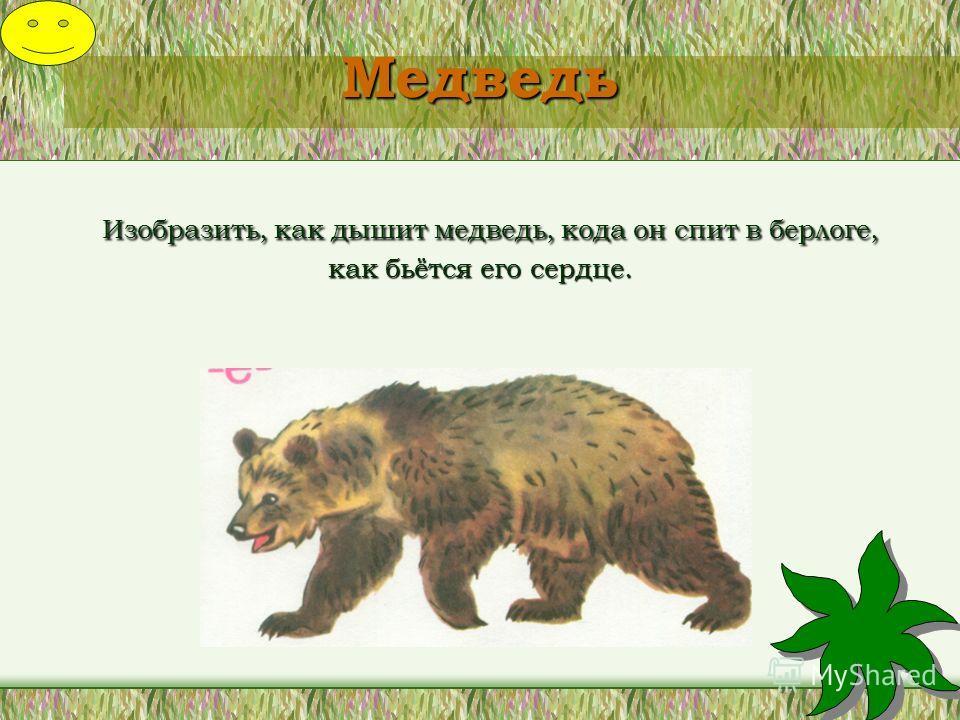 Медведь Изобразить, как дышит медведь, кода он спит в берлоге, как бьётся его сердце.