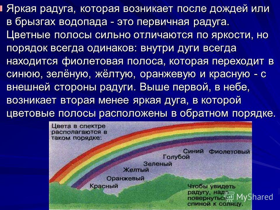 Яркая радуга, которая возникает после дождей или в брызгах водопада - это первичная радуга. Цветные полосы сильно отличаются по яркости, но порядок всегда одинаков: внутри дуги всегда находится фиолетовая полоса, которая переходит в синюю, зелёную, ж