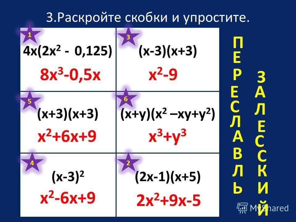 3.Раскройте скобки и упростите. 4х(2х 2 - 0,125)(х-3)(х+3) (х+3)(х+3)(х+y)(х 2 –xy+y 2 ) (2х-1)(х+5)(х-3) 2 1 8x 3 -0,5x 2 2x 2 +9x-5 3 x 2 -9 4 x 2 -6x+9 5 x 2 +6x+9 6 x 3 +y 3 П Е Р Е С А В Л Ь З А Л Е С С К И Й Л