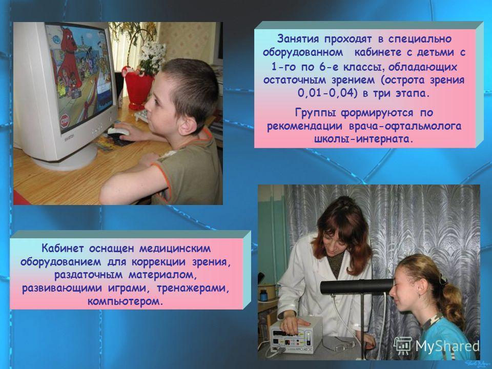 Занятия проходят в специально оборудованном кабинете с детьми с 1-го по 6-е классы, обладающих остаточным зрением (острота зрения 0,01-0,04) в три этапа. Группы формируются по рекомендации врача-офтальмолога школы-интерната. Кабинет оснащен медицинск