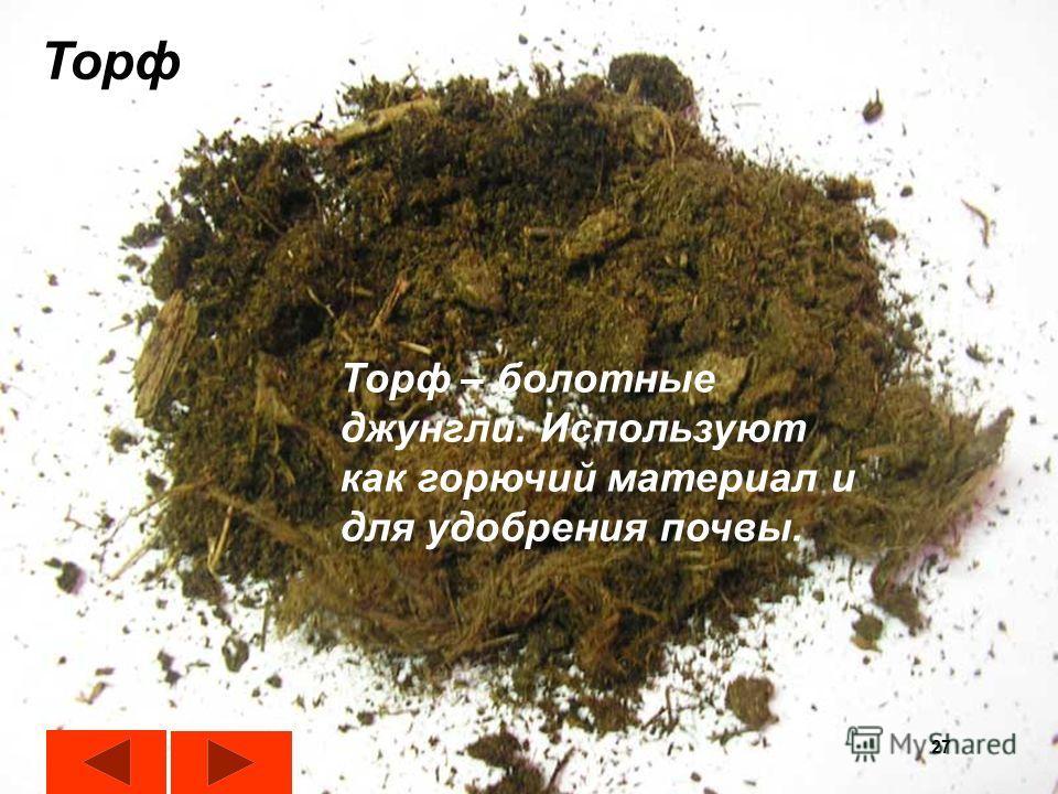 27 Торф Торф – болотные джунгли. Используют как горючий материал и для удобрения почвы. 27