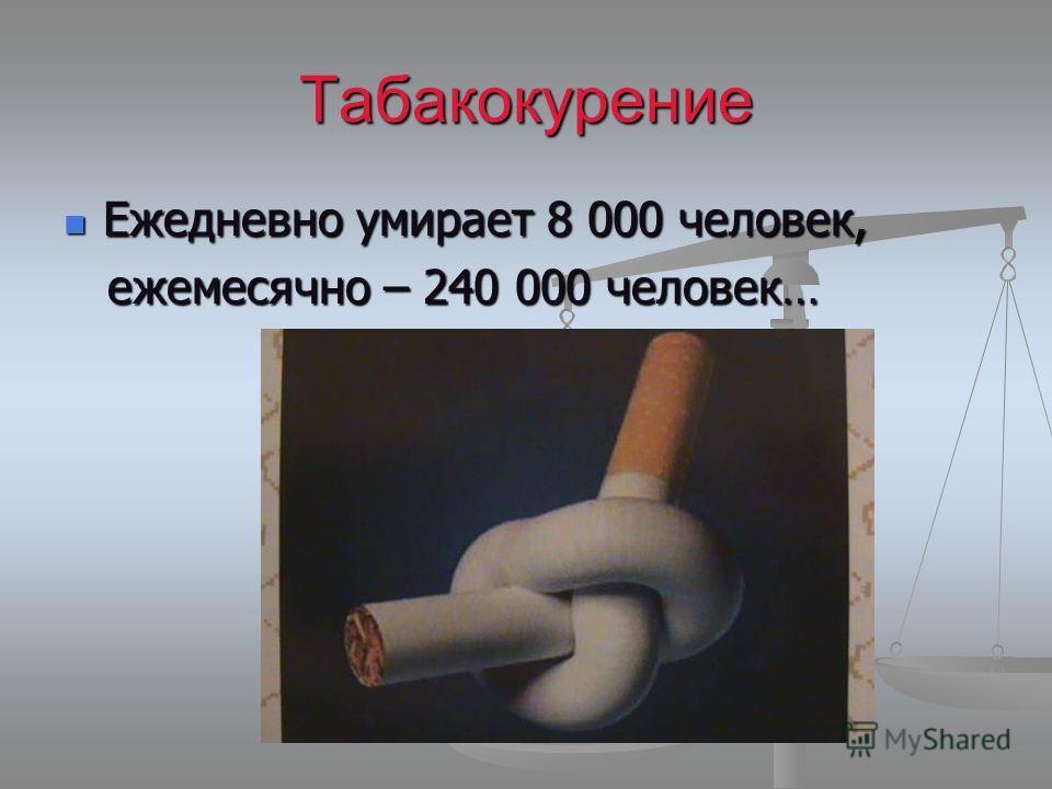 Табакокурение Ежедневно умирает 8 000 человек, Ежедневно умирает 8 000 человек, ежемесячно – 240 000 человек… ежемесячно – 240 000 человек…
