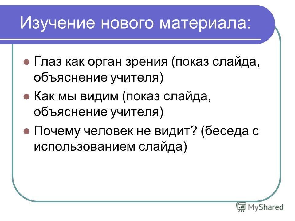 Изучение нового материала: Глаз как орган зрения (показ слайда, объяснение учителя) Как мы видим (показ слайда, объяснение учителя) Почему человек не видит? (беседа с использованием слайда)