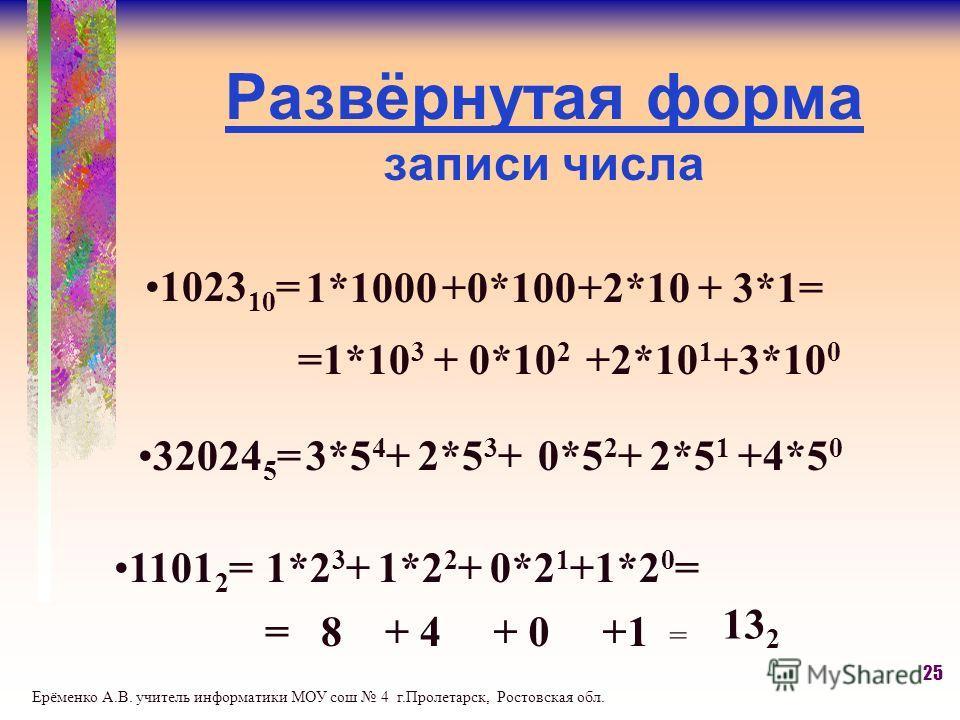 Развёрнутая форма записи числа 1023 10 = 1*1000+0*100+2*10+ 3*1= =1*10 3 + 0*10 2 +2*10 1 +3*10 0 32024 5 =3*5 4 +2*5 3 +0*5 2 +2*5 1 +4*5 0 1101 2 =1*2 3 +1*2 2 +0*2 1 +1*2 0 = = 8+ 4 + 0+1 = 13 2 25 Ерёменко А.В. учитель информатики МОУ сош 4 г.Про