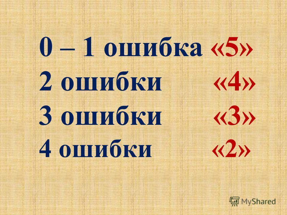 0 – 1 ошибка «5» 2 ошибки «4» 3 ошибки «3» 4 ошибки «2»