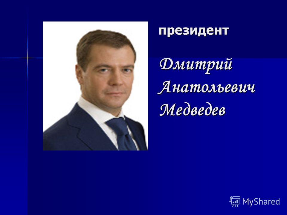 президент Дмитрий Анатольевич Медведев