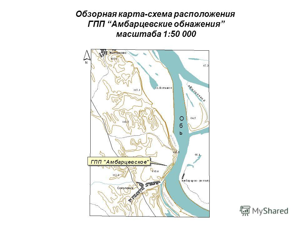 ОбьОбь Обзорная карта-схема расположения ГПП Амбарцевские обнажения масштаба 1:50 000