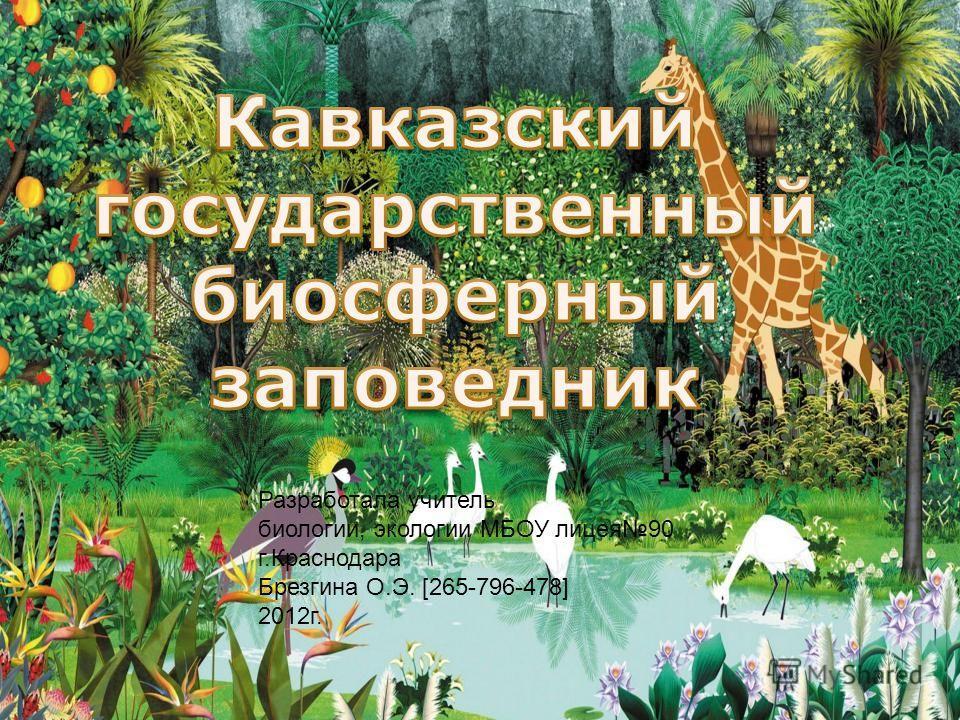 Разработала учитель биологии, экологии МБОУ лицея90 г.Краснодара Брезгина О.Э. [265-796-478] 2012г.