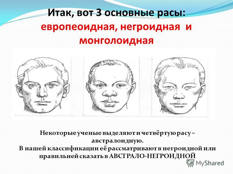 Итак, вот 3 основные расы: европеоидная, негроидная и монголоидная Некоторые ученые выделяют и четвёртую расу – австралоидную. В нашей классификации её рассматривают в негроидной или правильней сказать в АВСТРАЛО-НЕГРОИДНОЙ