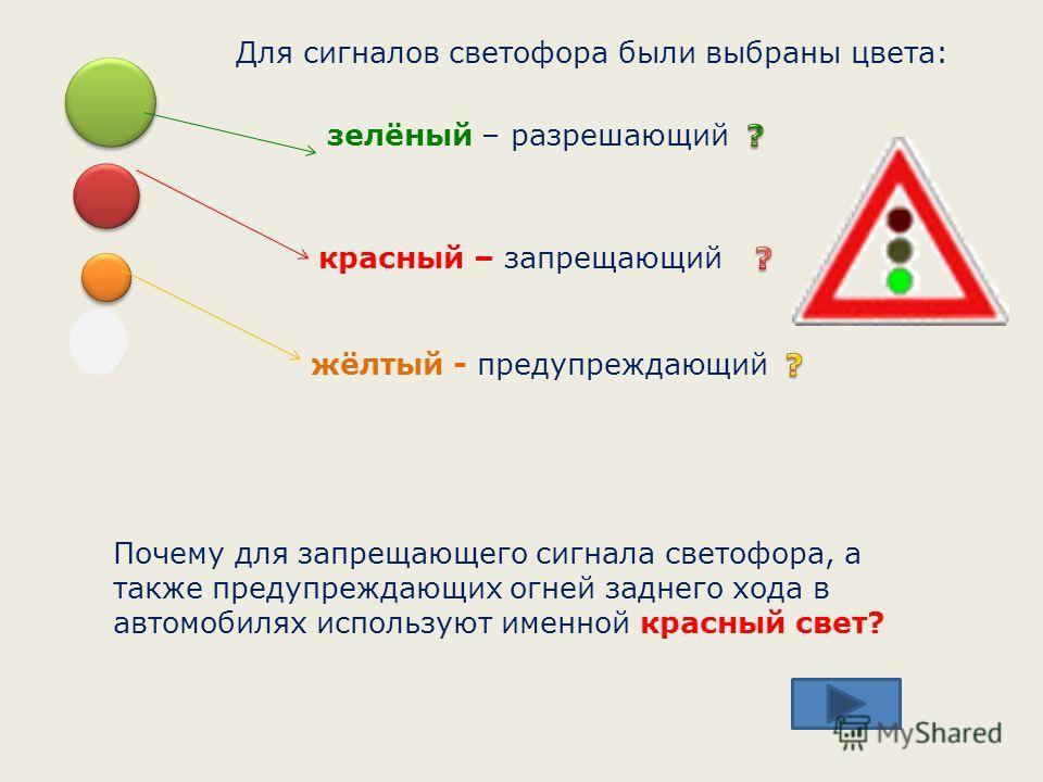 Почему для запрещающего сигнала светофора, а также предупреждающих огней заднего хода в автомобилях используют именной красный свет? Для сигналов светофора были выбраны цвета: красный – запрещающий жёлтый - предупреждающий зелёный – разрешающий