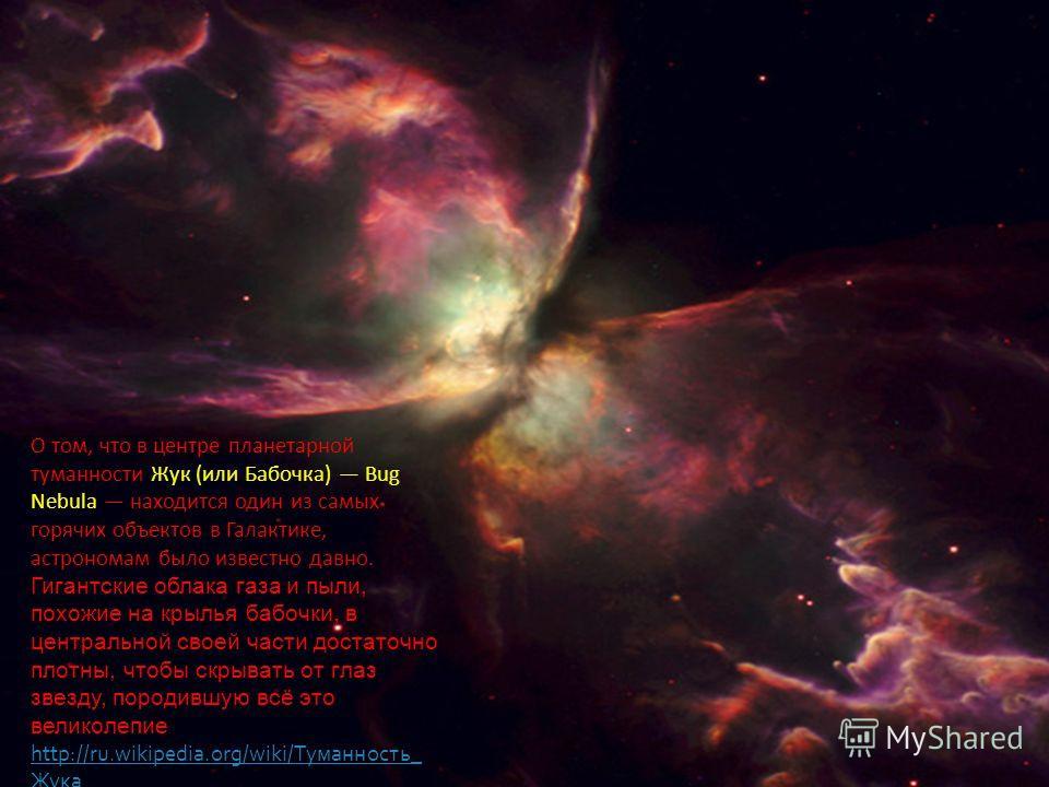 О том, что в центре планетарной туманности Жук (или Бабочка) Bug Nebula находится один из самых горячих объектов в Галактике, астрономам было известно давно. Гигантские облака газа и пыли, похожие на крылья бабочки, в центральной своей части достаточ