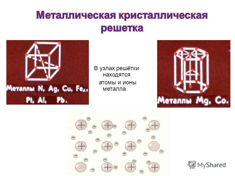 В узлах решётки находятся атомы и ионы металла
