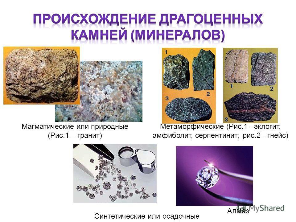 Магматические или природные (Рис.1 – гранит) Синтетические или осадочные Метаморфические (Рис.1 - эклогит, амфиболит, серпентинит; рис.2 - гнейс) Алмаз