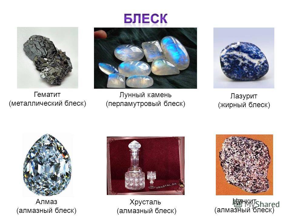 Алмаз (алмазный блеск) Цинкит (алмазный блеск) Лазурит (жирный блеск) Гематит (металлический блеск) Лунный камень (перламутровый блеск) Хрусталь (алмазный блеск)