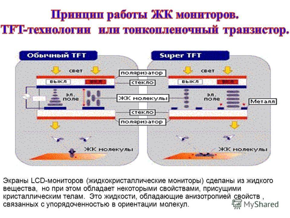 Экраны LCD-мониторов (жидкокристаллические мониторы) сделаны из жидкого вещества, но при этом обладает некоторыми свойствами, присущими кристаллическим телам. Это жидкости, обладающие анизотропией свойств, связанных с упорядоченностью в ориентации мо